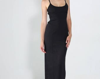 Long straight dress split straps black chic glam
