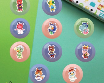 Villagers #6 Buttons   Animal Crossing New Leaf   Octavian Biskit Puddles Mabel Bertha Scoot Rasher Velma Chief Pate