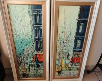 35% Off Summer Sale Fab Vintage Pair of Framed Mid Century Impressionist Paintings Oil on board, Signed by Artist