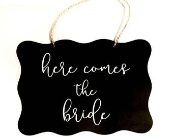 Rustic 'Here Comes the Bride' Sign