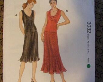ON SALE 35% OFF Misses' Sleeveless Tops and Ruffle Skirt Uncut Kwik Sew Sewing Pattern 3032 Size xs s m l xl Knit