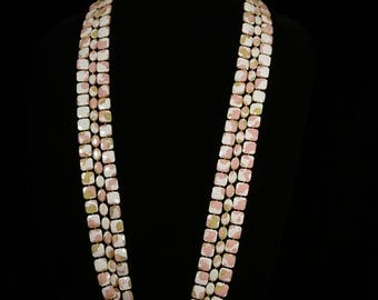 Vintage Three Strand Lucite Multi Colored Square and Oval Beaded Necklace