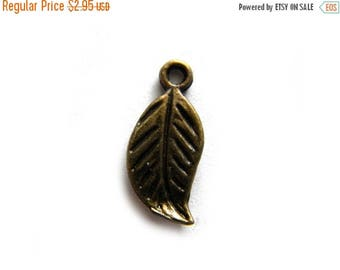 HALF PRICE 10 Small Bronze Leaf Charms - 17mm