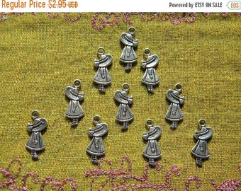 HALF PRICE Country Doll Charm - 10 Charms Doll in Bonnet Charm