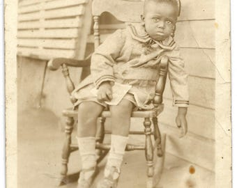 Vintage RPPC - Black Americana - Cute and Tired little boy