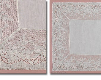 Vintage White Wedding Handkerchief with 3 Inch Lace Edge (Inventory #M4665)