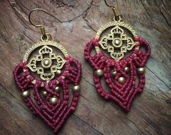 Macrame Earrings,Macrame Bohemian Earrings , Tribal macrame earring ,hippie earrings, boho chic earrings, fan earrings, gift women