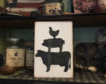 FarmHouse Sign Country Cow Pig Chicken Primitive Handmade