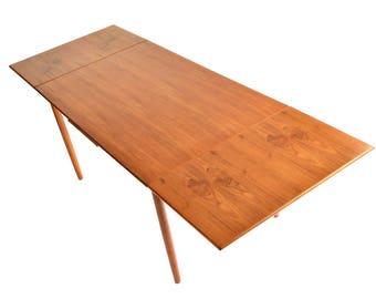 Mid Century Modern Teak Dining Table - Danish Modern Draw Leaf Dining Table