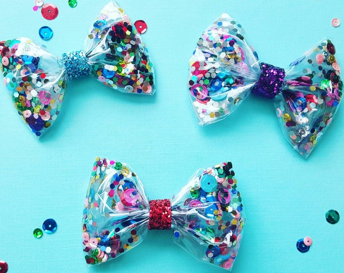 Confetti Sequin Glittery Bow Headband |  Glitter Bow | Cake Smash Bow | Bow | Sparkle Bow | Bow