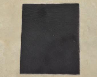 "Black/Dark Brown Leather Hair on Cow Hide 8"" x 10"" Pre-cut TA-58425 (Sec. 1,Shelf 6,A)"