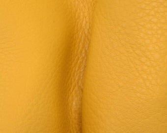 "Mac n Cheese  Yellow Leather New Zealand Deer Hide 12"" x 12"" Pre-cut 3-4 ounces-32 DE-66175 (Sec. 5,Shelf 7,B)"