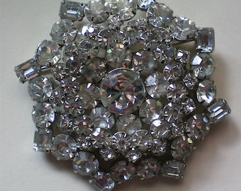 Enormous Multi-Layered Clear Rhinestone Brooch - 5401