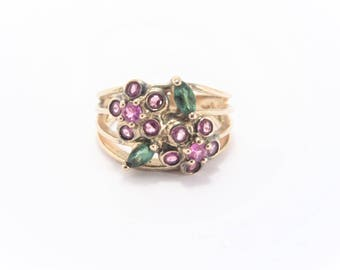 Vintage Gold Vermeil Floral Ruby Emerald Ring Size 7