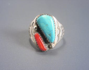 Unisex Vintage Southwestern Sterling Coral Turquoise Ring Size 9