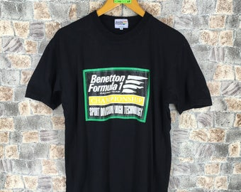 BENETTON Tshirt Black Medium Vintage 90's United Colors Of Benetton Spell Out Formula 1 Racing Team Benetton Tshirt Size M
