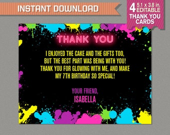 Neon Glow Party Thank You Cards - INSTANT DOWNLOAD - Glow in the Dark Party - Edit and print at home using Adobe Reader