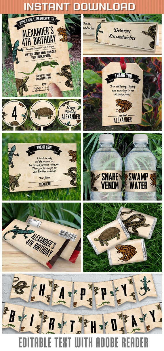 Reptile Party Invitations & Decorations - INSTANT DOWNLOAD - Reptile ...