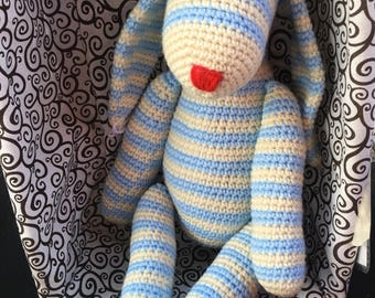 Blue and White Striped Stuffed Crochet Bunny