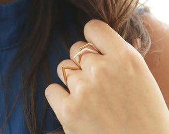 ON SALE 2 Different Styled 14K Gold & Silver Outbound Geometric Statement Duo Toned Minimalist Rings - Handmade Product