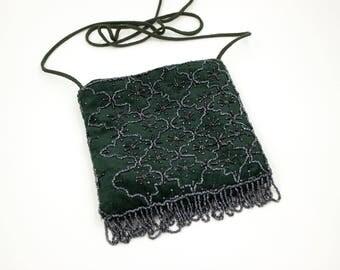 Vintage 1950s emerald green velvet steel beaded bag beads - Gatsby evening bag