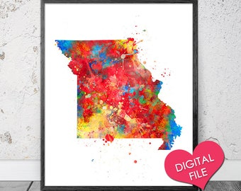 Missouri Map Watercolor, PRINTABLE Art, Digital Download, Missouri State Map, Missouri Printable Map, Missouri Art Print, Missouri Digital