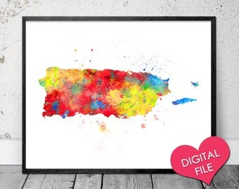 Puerto Rico Map Watercolor, PRINTABLE Art, Digital Download, Puerto Rico Art Prints, Printable Puerto Rico Poster, Puerto Rico Painting