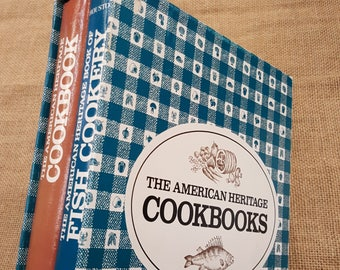 Two American Heritage Cookbooks in Slipcase ~ vintage set of recipe books for housewarming or wedding gift