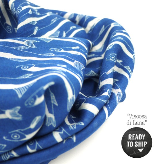 """Blue and white wool viscose scarf """"anchovies"""", fishes infinity scarf"""