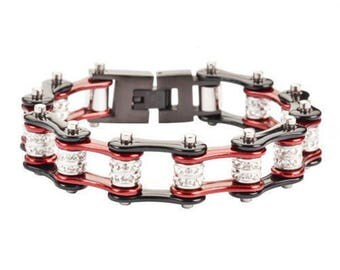 Women's Stainless Steel Candy Red Double Bling Bike Chain Bracelet US Seller!