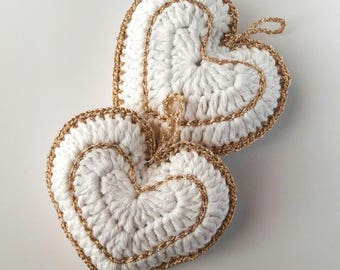 Heart decoration for furniture, parties or crochet favors in cotton and lurex (art. 71_XMAS2)