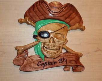 Pirate, Captain Bly Pirate, Pirate Wood Carving, Hand Painted Pirate, U PICK MESSAGE, pick paint color, Gothic Decor, Pirate Decor, Pirate
