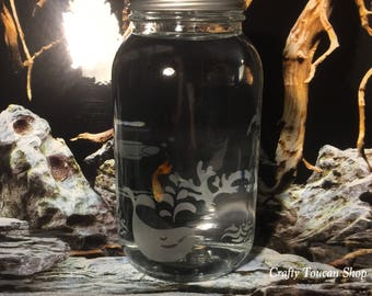 Guppy Aquarium Child Room Decor First Pet Etched Engraved Glass Gift For Grandchild Son Daughter Niece Nephew Friend Moby Dick Whale Jar