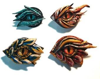 "Pin ""dragon eye"" . Eye Brooch. Polymer clay pin."