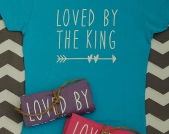 GIRL'S Fitted T-shirt (Loved By The King shown)