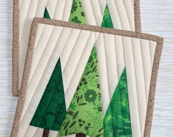 Quilted Forest Potholders, Hot Pads, Mug Rugs, FREE SHIPPING!