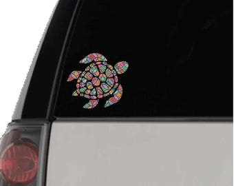 Turtle Car Decal, Boho Patterned Turtle Decal, Patterned Car Decal, Printed Decal