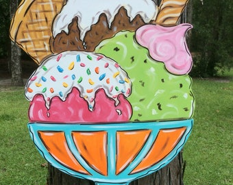 Summertime, Celebration, Birthday, Icecream, Sundae, Summer, Door, Hanger