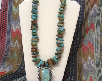 Navajo TURQUOISE & Sterling Silver NECKLACE LARGE Pendant Signed Indian Native #8 Mine Turquoise w/ Sonoran Turquoise and Sugilite stones