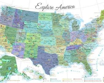 National Park Map Etsy - Us map national parks