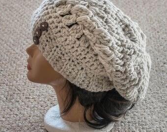 Crochet Light Beige Slouchy Hat, Women's Winter Hat