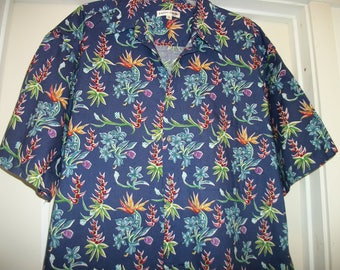 Awesome Retro 90s Pierre Cardin FRENCH TROPICS SHIRT In Cotton, Lg