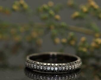 Black and White Diamond Eternity Band with Black Rhodium Overlay, 0.75ctw, 3mm Wide, Bead Set Diamonds with Three Row Design, Mary B