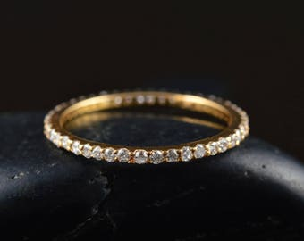 Petite Diamond Eternity Band in 14k Yellow Gold, 0.33ctw, 1.3mm Wide, Shared Prong Set, Diamond Infinity Ring, Stackable, Petite Tessa