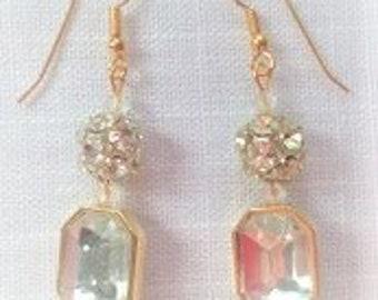 Polished Gold/Rhinestone/Crystal Fish Hook Earring