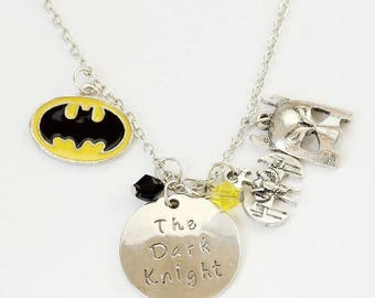Batman The Dark Knight Silver Charm Necklace-20""