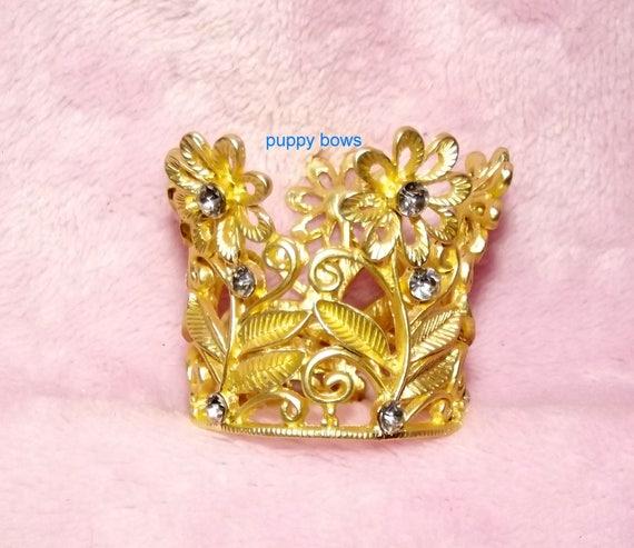 Puppy Bows ~ 3D gold flower daisy rhinestone crown dog bow  pet hair clip barrette