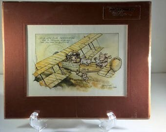 Jody Bergsma Childrens Print You Can Do It Airlines Signed Numbered Bergsma 1983 Matted Print