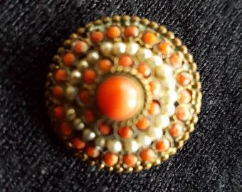 Edwardian Coral Colour and White Bead Brooch