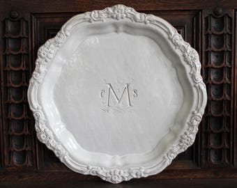 """15"""" Large Vintage Inspired Baroque Floral Ceramic Tray, Custom Charger Plate, Personalized Handmade Platter, Monogrammed White Platter"""